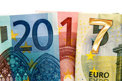 Close up on 2017 written with euros Stock Photo