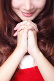 Close up of Xmas girl praying Royalty Free Stock Photography