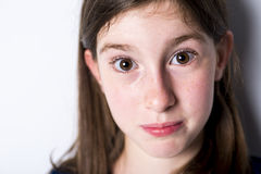 Close-up of a 10 year old girl Royalty Free Stock Photos