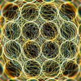 Close-up on yellow colored atoms with moving particles vector illustration