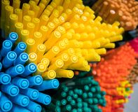 Close-up of yellow colour pens. Yellow and blue and green Royalty Free Stock Photography