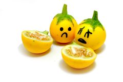 Close Up Yellow Eggplant with Sad Face and Dissect on White Background. Great For Any Use Royalty Free Stock Images
