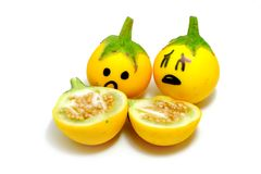 Close Up Yellow Eggplant with Sad Face and Dissect on White Background. Great For Any Use Royalty Free Stock Photo