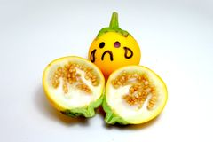 Close Up Yellow Eggplant with Sad Face and Dissect on White Background. Great For Any Use Royalty Free Stock Image