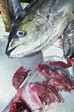 Close-up of a yellow fin tuna fish and its red meat for sale in the Philippines royalty free stock photography