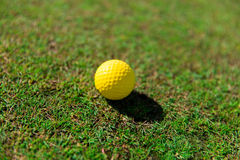 Close up of yellow golf ball on green grass. Game, entertainment, sport and leisure concept - close up of yellow golf ball on green field grass Stock Images