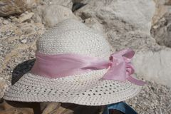 Hat summer sea nobody blue background Stock Photography