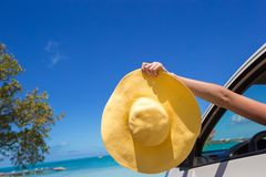 Close up of yellow hat on the car at caribbean Stock Photos