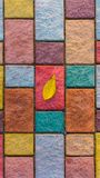 Close-up yellow leaf on colorful paving stone bricks. Autumn composition concept. stock images