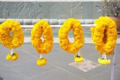 Yellow marigold flower garland. Close up yellow marigold flower garland stock images