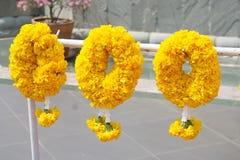 Yellow marigold flower garland. Close up yellow marigold flower garland stock photography