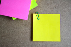 Close up yellow note paper. Stock Images