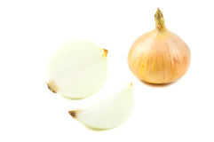 Close up yellow onions. On white background Stock Photo