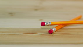 Close up of yellow pencils on wooden table. Concept of office work. Writing and education stock image