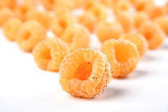 Close up of yellow raspberries on white background Royalty Free Stock Image