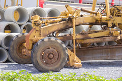 Close up  yellow road grader Royalty Free Stock Images