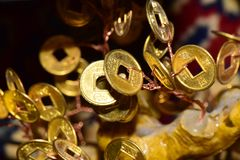 Close-up of coin Feng Shui. Close-up of yellow and shiny coins of feng shui attached to the money tree Stock Photos