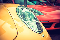 Close up of a yellow sport car Royalty Free Stock Photography