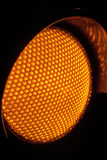 Close up Yellow Traffic lights at night Royalty Free Stock Photo
