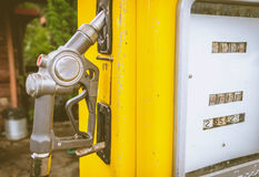 Close up of Yellow vintage fuel dispenser Royalty Free Stock Photos