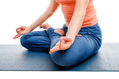 Close up of yoga asana Padmasana Lotus pose Stock Photo