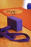 Close up of yoga mat and foam block Stock Photos