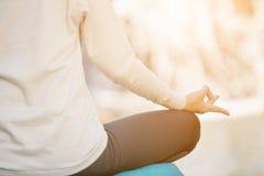 Close up of yoga meditating Royalty Free Stock Image