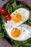 Close up yolks of egg with salad and cherry tomatoes royalty free stock photography