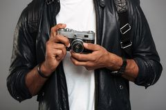 Close up of a young african male photographer Stock Photos