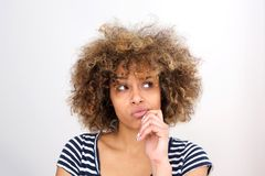 Free Close Up Young African Woman Thinking With Hand On Chin And And Looking Away Royalty Free Stock Photos - 116903738