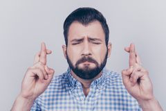 Close up of young bearded brunet with fingers crossed, hoping fo. R good luck before going to job interview or exam, in checkered smart shirt, on pure background Royalty Free Stock Photo