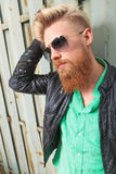 Close up of young bearded man Royalty Free Stock Photography