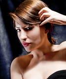 Close up  young beautiful elegant  brunette posing Stock Photo