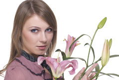 Close up of young beautiful woman with flower Royalty Free Stock Images