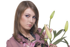 Close up of young beautiful woman with flower Stock Photography
