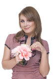 Close up of young beautiful woman with flower Royalty Free Stock Photography