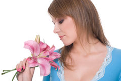 Close up of young beautiful woman with flower Stock Photos