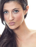 Close-up young beauty woman with expressive lips Royalty Free Stock Photography