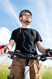 Close-up of a young biker Royalty Free Stock Photography
