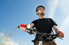 Close-up of a young biker Stock Photo