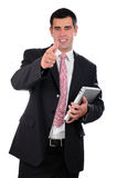Close up of young businessman holding laptop Royalty Free Stock Photos