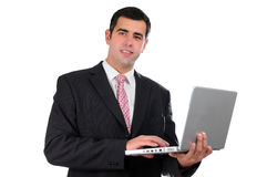 Close up of young businessman holding laptop Stock Photos
