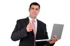 Close up of young businessman holding laptop Royalty Free Stock Photo