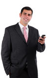Close up of young businessman holding mobile phone Royalty Free Stock Images