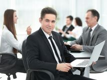 Close Up.young Businessman Looking At The Laptop Screen Stock Images