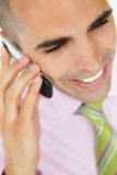 Close up of young businessman using cellphone Stock Photography