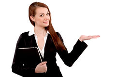 Close-up of a young businesswoman gesturing Royalty Free Stock Image