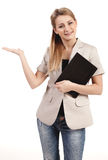 Close-up of a young businesswoman gesturing Stock Photography