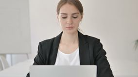 Close Up of Young Businesswoman Typing on Laptop stock footage