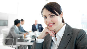 Close-up of a young businesswoman in a wheelchair Stock Photos
